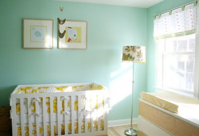 A good nursery idea to personalize your baby's room is to write it on the  central wall or right above the crib. You can also use his/ her initials.